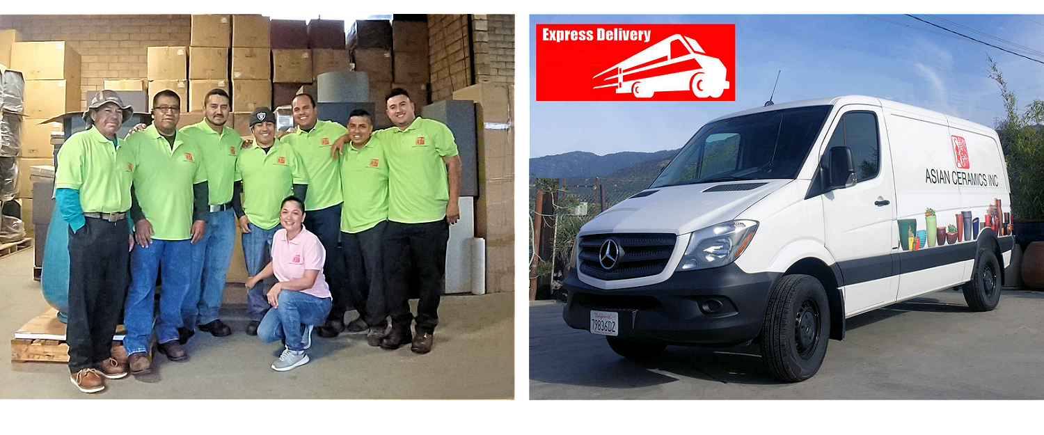 Warehouse crew and delivery van